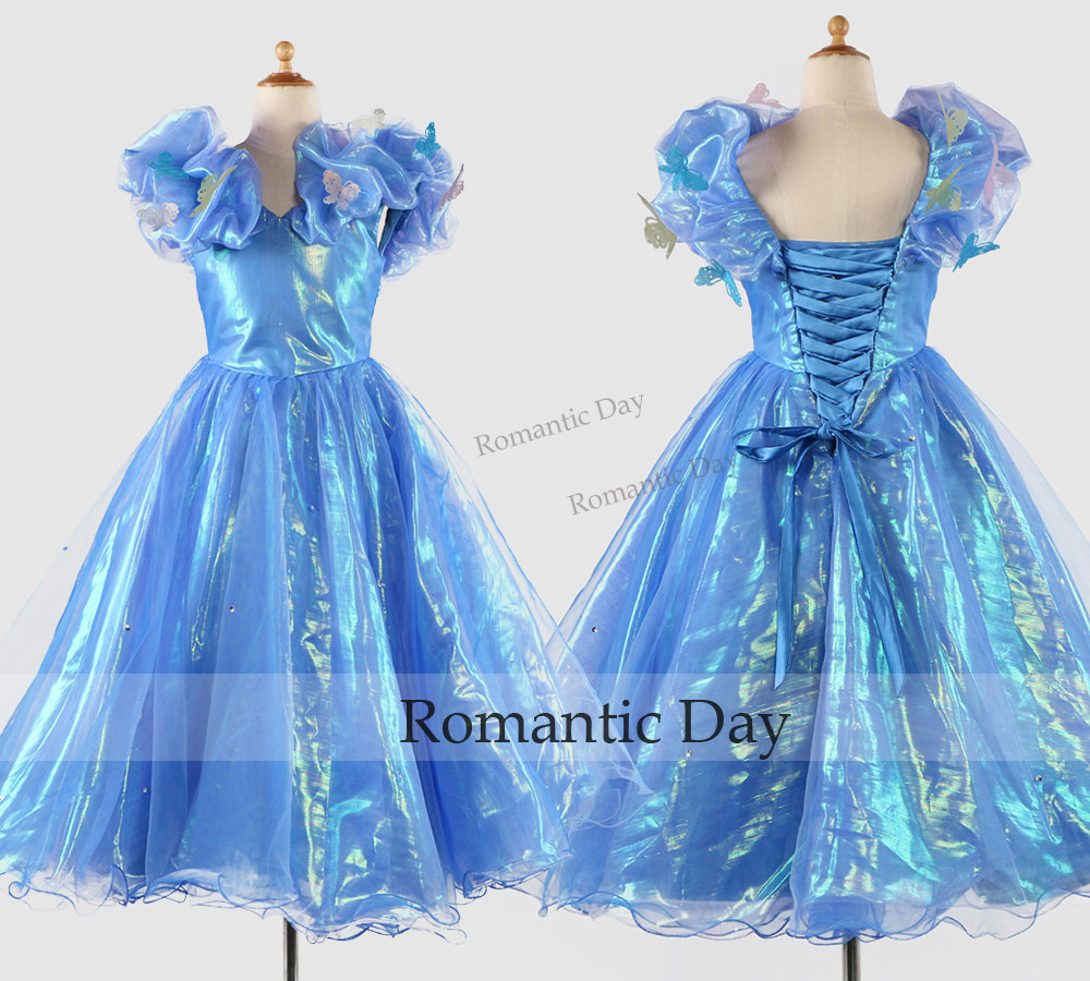 Cute Girl Cinderella Dress/Flower Girl Dress/Blue Butterfly Ball ...