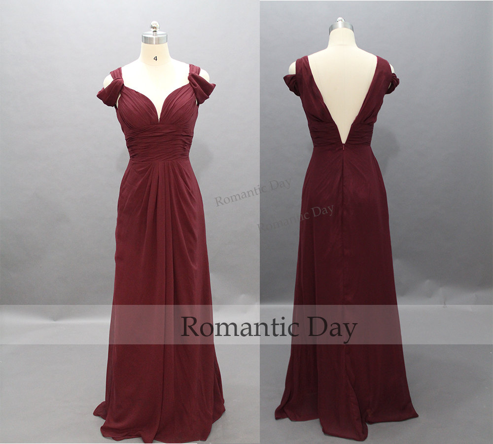 Elegant Burgundy Long Chiffon Prom Dresses Beach Wedding Dress Vintage Evening